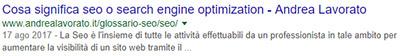 esempio snippet google