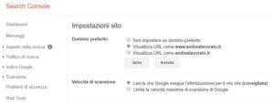 impostazione dominio preferito google search console