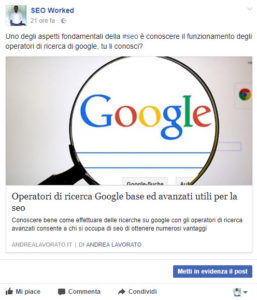 post facebook senza open graph