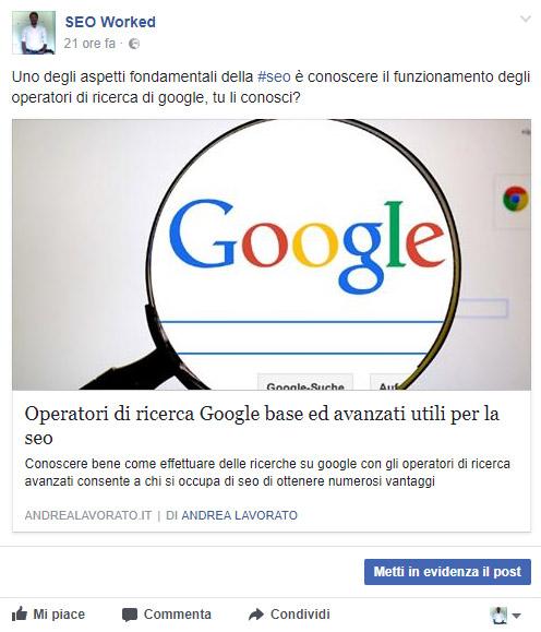 post facebook senza open graph